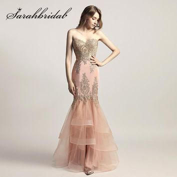 Blush Pink Evening Dresses with Sweetheart Long Mermaid Embroidery Beaded Navy Tulle Ruffles New Arrival Prom Party Gowns CC462