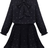 Black Long Sleeved Bow Collar Polka Dot Pleated Dress