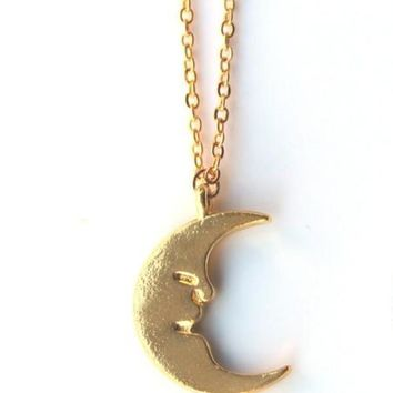 Gold Half Moon Pendant Necklace for Women 1 Pc