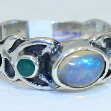 Sterling Silver Ethiopian Opal Spiral ring
