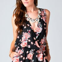 SLEEVELESS FLORAL WRAP ROMPER