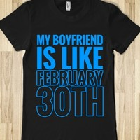 MY BOYFRIEND IS LIKE FEBRUARY 30TH T-SHIRT (L BLUE ICL23)