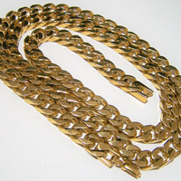 Napier Gold Tone Thick Chain, 30in Chunky Link Necklace, Heavyweight Links, Fold Over Clasp, Vintage Jewelry 218