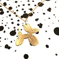 Dog Balloon Pendant Necklace Sketch Jewelry Icon Necklace Long Gold Filled Silver Necklace Gold Plated Unisex Design Koons Art Minimal Gift