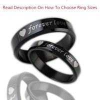 "1PCS New Trending Women's And Men's Fashion Jewelry Simple Style His And Her Titanium Steel Polish ""forever love"" Rings ,Couples Wedding Anniversary Ring Wedding Bands,Unique Lover's Ring ,Black ,BY EZMAX"