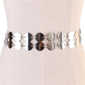 "24"" - 46"" waist silver 2 row disc layered metal belt 1.70"" wide"