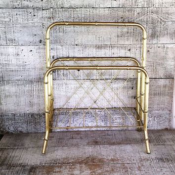 Magazine Holder Brass Magazine Rack Mid Century Magazine Rack Faux Bamboo Magazine Holder Vintage Record Holder Album Holder Danish Modern