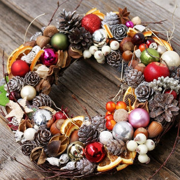 Christmas ornament wreath, Holiday Christmas Wreath, colorful and Cones decoration, Xmas wreath, Candle decoration, Rustic christmas wreath
