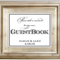 Please Sign Our GuestBook 8x10 Guest Book Wedding Sign Customized Personalized Typography Art Print