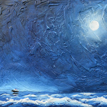 """seascape wall art contemporary painting canvas office texture oil landscape """"StormFront"""" original painting a4 a3 print ocean contemporary"""