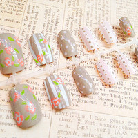Fake Nails - Light Pink Polka Dot Nails Set - Floral Nail Design - Rose Nail Art - Reusable Press On False Nails - Medium Long Nail Tips