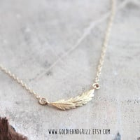16k Gold Plated Layered Leaf Necklace - 24 inch chain