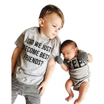 Toddler Kids Baby Boys Letter Brother Matching Clothes T shirt T 302e9d97858c