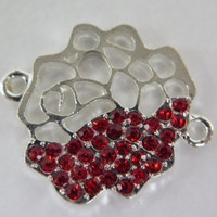 1PC - Flower Connector - Silver Toned with Red Rhinestones - 26mm