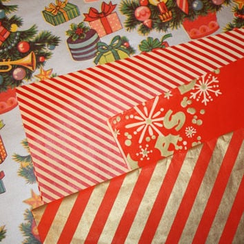 Vintage Christmas Wrapping Paper Lot,  Holiday Gift Wrap