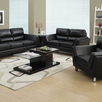 Black Bonded Leather / Match Love Seat
