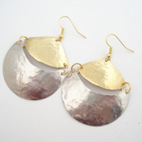 Mixed Metal Earrings-Unique Handmade Earrings-Hand Hammered Errings-Dangle Earrings-Gold and Silver Earrings-Modern Earrings