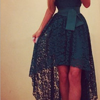 Lace Tie-Waist Short-Sleeve Asymmetric  Dress