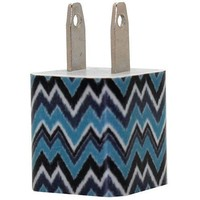 Shades of Blue Ikat Phone Charger
