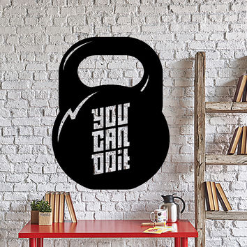 Wall Vinyl Decal Sport Gym Quote You Can Do It Dumbbel Home Decor Unique Gift z4342