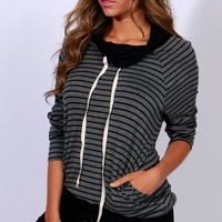 Striped Pullover Charcoal Black