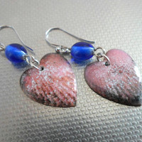 Handmade Jewelry, Enameled Jewelry, Long Dangle Lampwork Earrings, Love, Heart, Lampwork Jewelry Gift Ideas