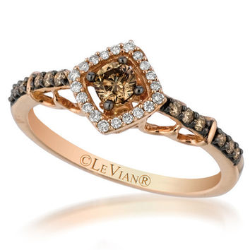 Le Vian® Petite Chocolate and Vanilla Diamond® Square Halo Ring in 14K Strawberry Gold®
