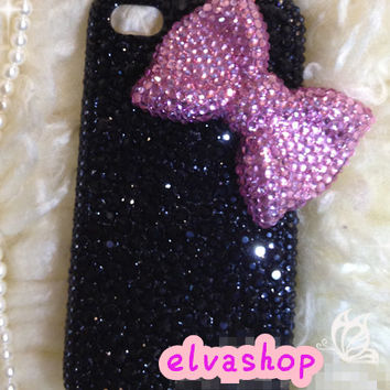 Iphone5 Bling Case Black crystal iphone 4 case ,Iphone 4s case pink Bow-tie ,Iphone 5 case durable