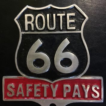 ROUTE 66 Sign Solid Quarter Inch Metal Antique Style