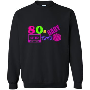 COOL POPULAR: 80s BABY Neon Shirt Party Outfit Gift Idea Printed Crewneck Pullover Sweatshirt