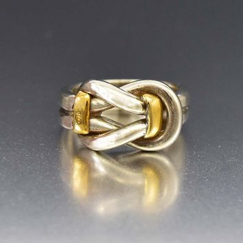 Superb 18K Yellow Gold and Silver Love Knot Ring