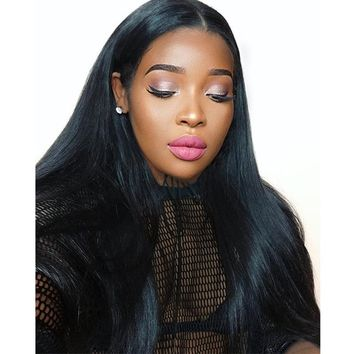 3 Peruvian Straight Human Hair Bundles With Closure With Baby Hair Bleached Knots