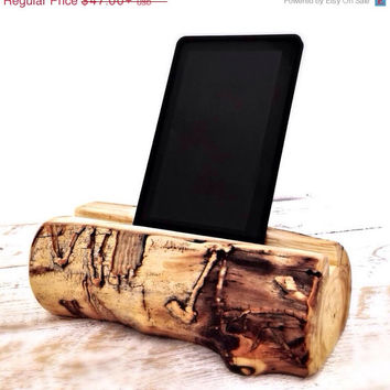 CYBER MONDAY SALE Rustic Log Tablet Stand Tablet Accessory Ipad Stand Kindle Stand Phone Stand Docking Station Gadget