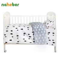 LifeTree 3 Pcs Cotton Baby Bedding Set Cartoon Patterns Crib Bedding Bed Sheet Duvet Cover Pillowcase without Filler