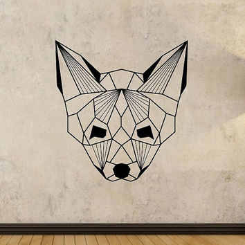 Origami Fox Wall Decal Wild and Free  quote Sticker Art Decor Bedroom Design Mural animals living room decor