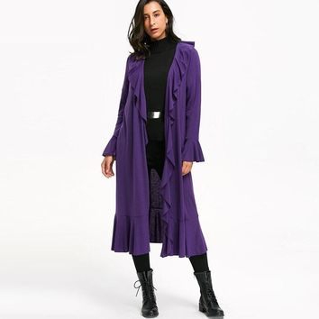 Womens Casual Solid Flare Sleeve Trench Coats Ruffles Open Front Long Coat
