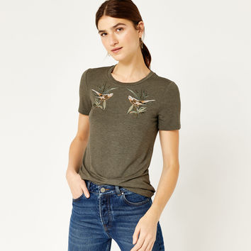 SONGBIRD EMBROIDERED TEE