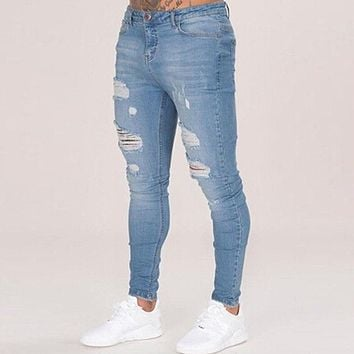 Cotton Jean Men's Pants Vintage Hole Cool Trousers for Guys 2018 Summer Europe America Style Plus Size 3XL ripped jeans men
