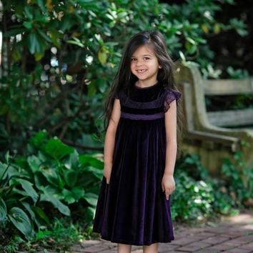 Magnolia Dark Purple Velvet Smock Dress - Toddlers & Girls