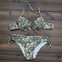 Women's Camo Printed Push up Halter Bikini Swimsuits Two Pieces