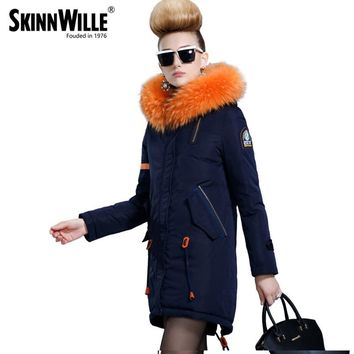 skinnwille new products down jacket in winter More female in long White duck down even the chinstrap collars