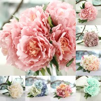 5 Heads Vintage Artificial Peony Bouquet Silk Leaf Flower Wedding Home Decor