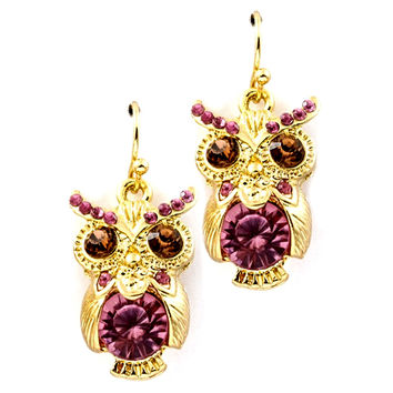 gold and pink owl drop earrings