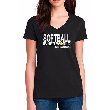 Softball Mom Plus Size Shirts; Softball Is Her World She Is Mine Ladies V-Neck Cotton Short Sleeve T Shirt