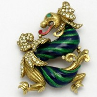 Vintage RARE CINER Mythical Dragon Brooch Enamel Crystal Rhinestones