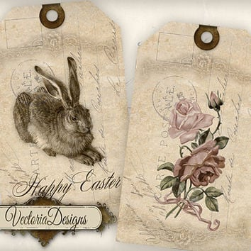INSTANT DOWNLOAD Easter Tags instant download printable gift tags digital Collage Sheet 358