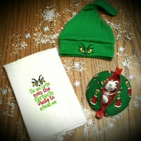 GRINCH Baby Beanie Hats Pacifier Pods Burp CLoThS SweeT GrinchMaS Baby Gift & Adorable StocKing Stuffer Boutique Unique Designs by Sugarbear