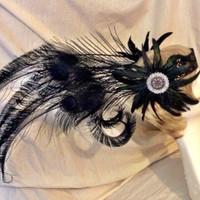 Black peacock feather American tribal style headdress