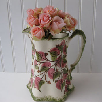 Vintage Clinchfield Pottery Handpainted Pink Green Pitcher/Vase