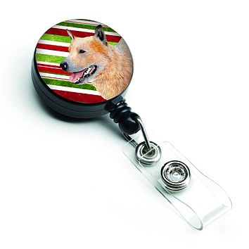 Australian Cattle Dog Candy Cane Holiday Christmas Retractable Badge Reel LH9227BR